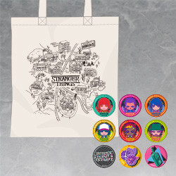 Stranger Things Nendoroid Plus Hawkins Map Tote Bag with Pinback Button