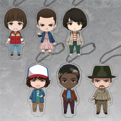 Strange Things Nendoroid Plus Night Woods Design Acrylic Keychains: Will (Japan Ver.)/Eleven (Japan Ver.)/Mike (Japan Ver.)/Dustin (Japan Ver.)/Lucas (Japan Ver.)/Hopper (Japan Ver.)
